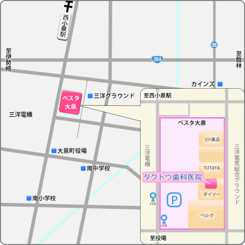 群馬県 大泉町 タクトウ歯科医院 周辺図
